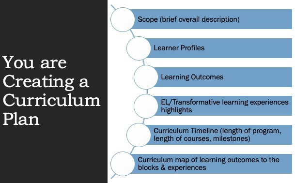 You are creating a curriculum plan with scope learner profiles, learning outcomes, Transformative experiences, timelines and milestones, and curriculum map